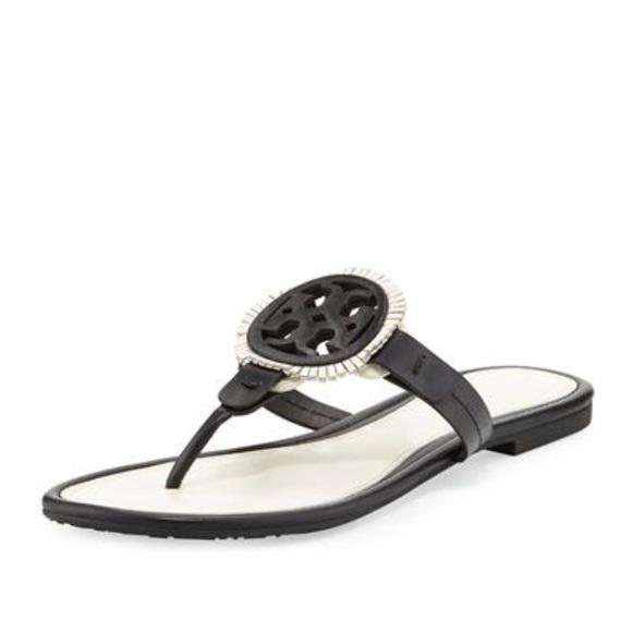 c8f59d9d5553 Tory Burch Miller Fringe Sandal Black White Sz 7.5